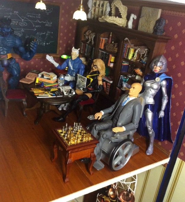 Lilandra action figure custom in library by Suzanne Forbes Sept 21 2019