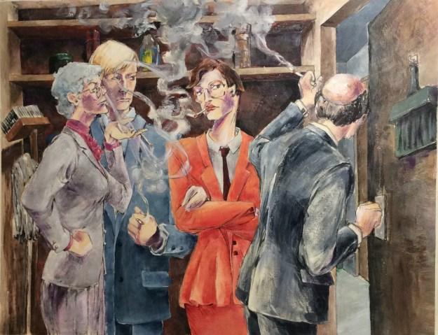Smoker closet final for Tom Garrettt Illustration Class Fall 1990 by Rachel Ketchum aka Suzanne Forbes