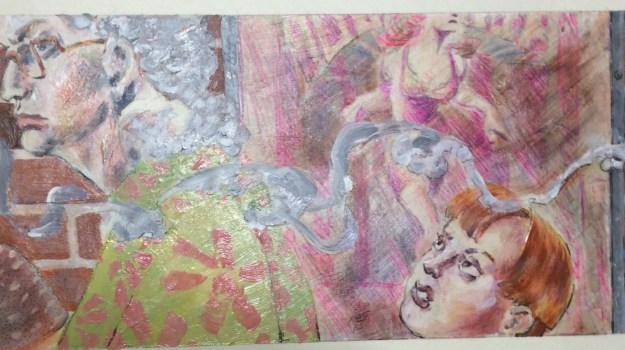 Smoker header detail for Tom Garrettt Illustration Class Fall 1990 by Rachel Ketchum aka Suzanne Forbes