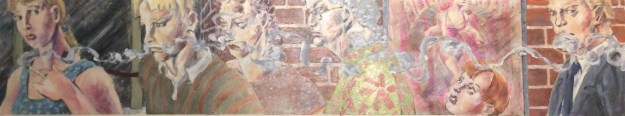 Smoker header for Tom Garrettt Illustration Class Fall 1990 by Rachel Ketchum aka Suzanne Forbes