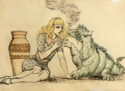 Girl with dragon by Rachel Ketchum aka Suzanne Forbes approx 1984