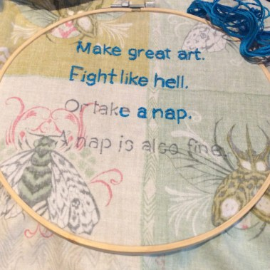 Motto of EG embroidered by Suzanne Forbes WIP May 2020