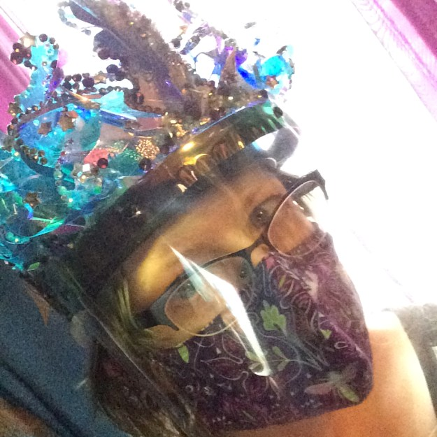 Removable holographic vinyl and crystal decorative face shield crown by Suzanne Forbes 2