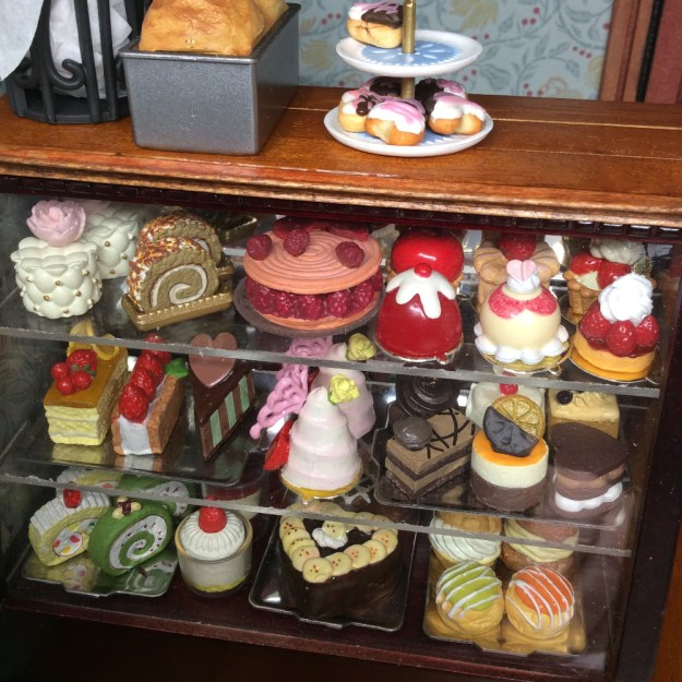 Miniature bakery case with Re-Ment miniature desserts and cakes by Suzanne Forbes Dec 2020