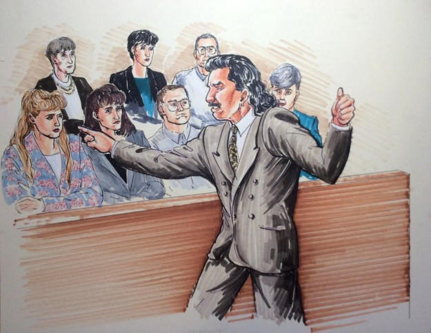 Courtroom drawing by Suzanne Forbes working as Rachel Ketchum ca 1993 defense 2