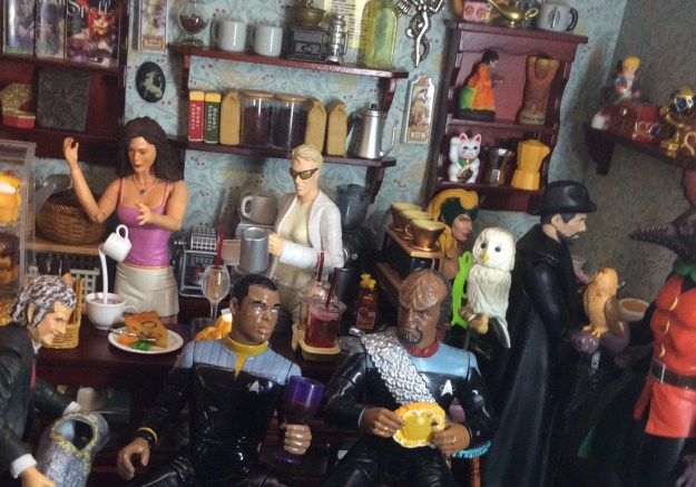 Dollhouse miniature coffee shop with action figures by Suzanne Forbes June 2021 2