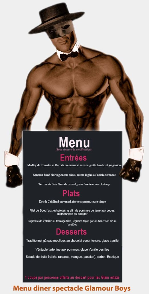 menu diner spectacle chippendales au Duplex