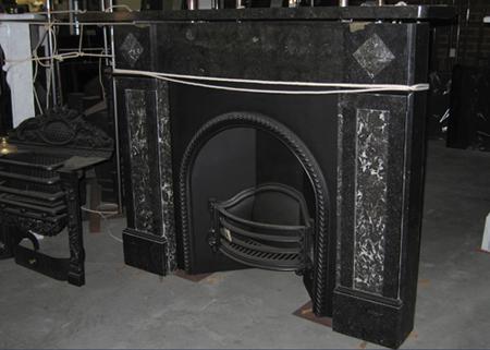 black marble cast iron grate victorian