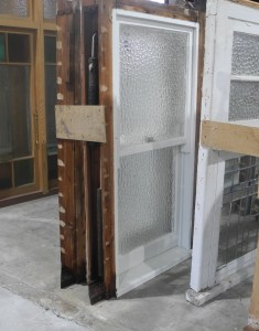 original secondhand pair double hung obscure windows