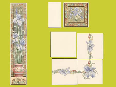 new reproduction ceramic victorian federation art nouveau tiles stovax printed 6x6 blue iris series