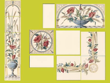 new reproduction ceramic victorian federation art nouveau tiles stovax printed 6x6 poppy and weatsheaf series