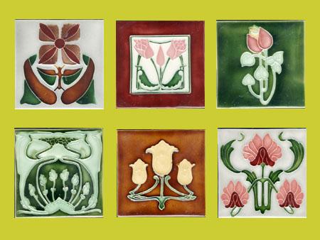 new reproduction ceramic victorian federation art nouveau tiles porteous 6x6 tiles