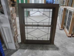 original double hung art deco lead light window