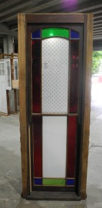 original secondhand victotrian double hung window with flashed and etched glass