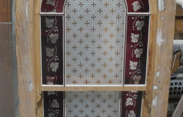 Arched Victorian Double Hung  Staircase Window   049