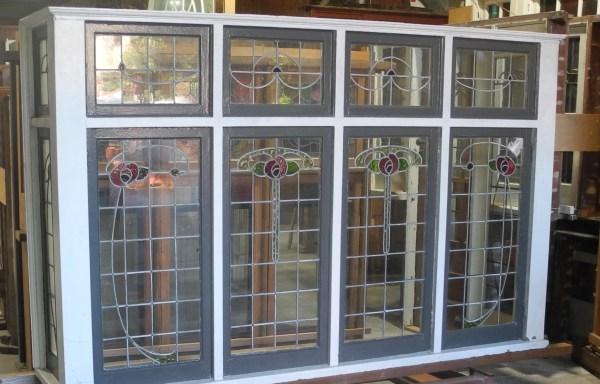 Original Art Nouveau Lead light Bay Window  052