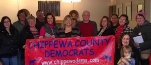 Photo of candidate-now-Governor Gretchen Whitmer visiting with members of the Chippewa County Democratic Party
