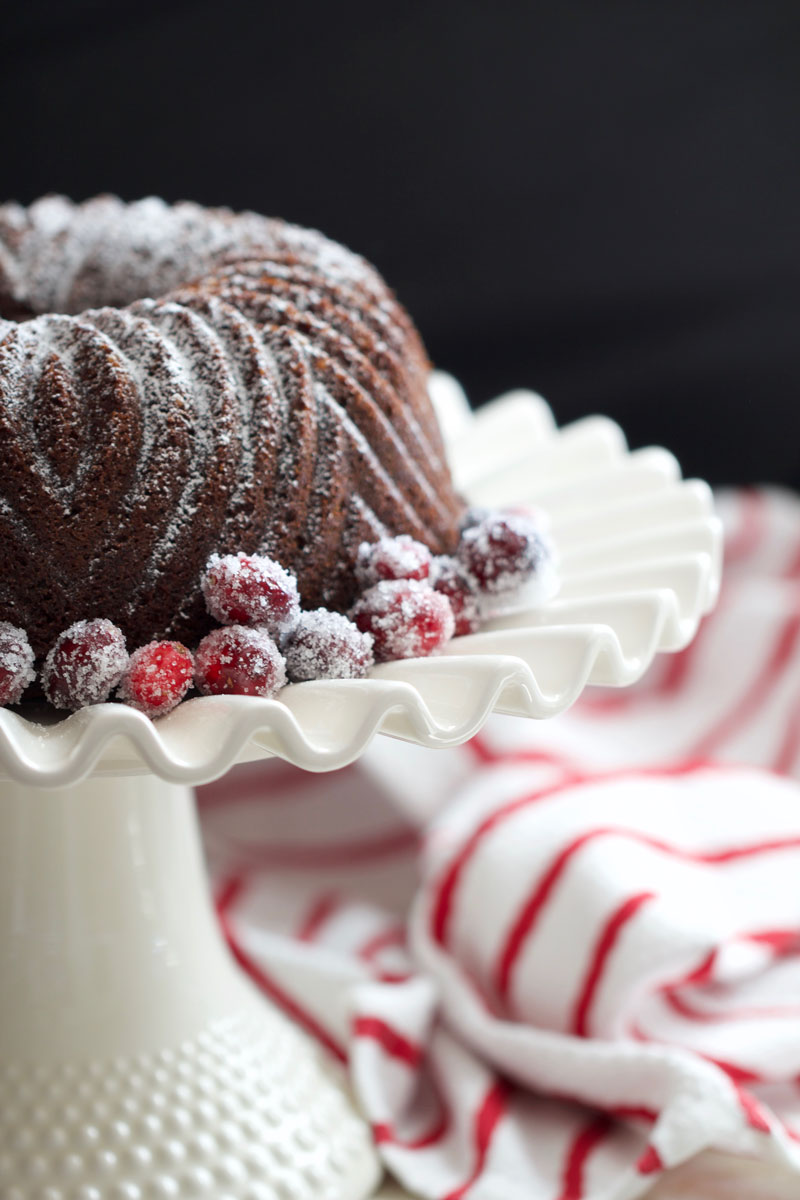 Gingerbread Cake + Sugared Cranberries - chipsandpepper.com