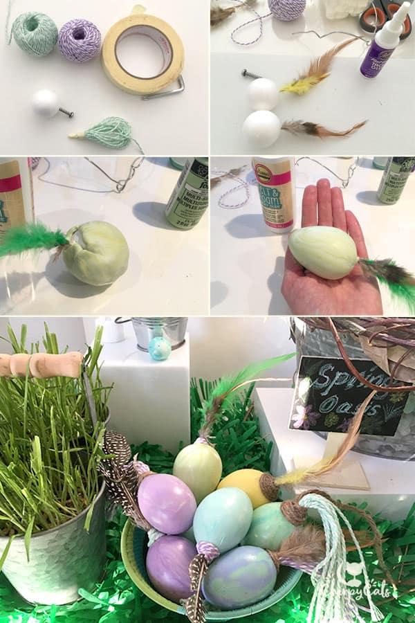 How to make cold porcelain Easter egg cat toys