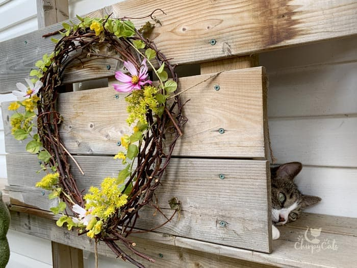 cat relaxing in a cat condo decorated with flower wreaths