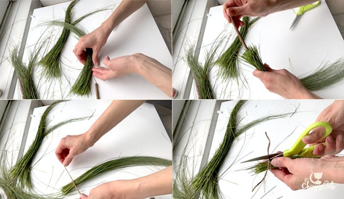 step by step instructions on making a mini witches broom from oat grass