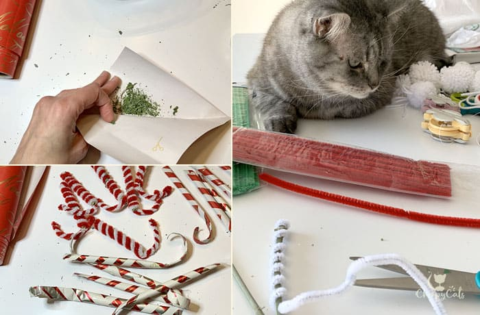 DIY cat toys such as catnip candy canes amde from catnip stems and pipe cleaners