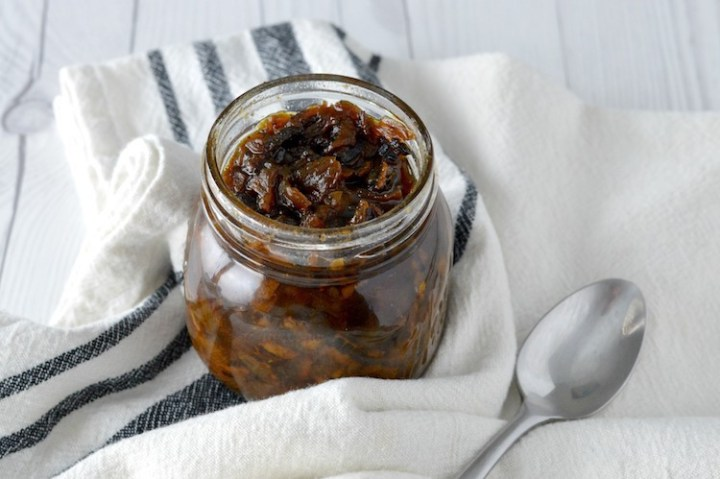 close-up of bacon jam recipe in jar