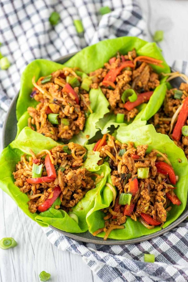 Thai chicken lettuce wraps on slate plate