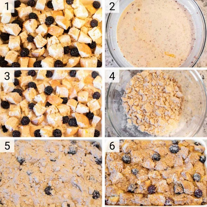 process shots of how to make french toast casserole
