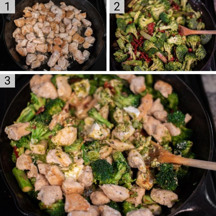 process shots of how to make one pan pesto chicken and veggies