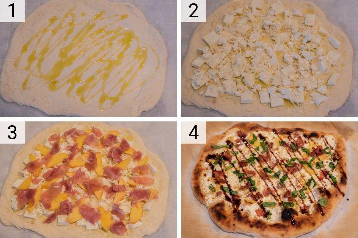 process shots of how to make peach prosciutto pizza