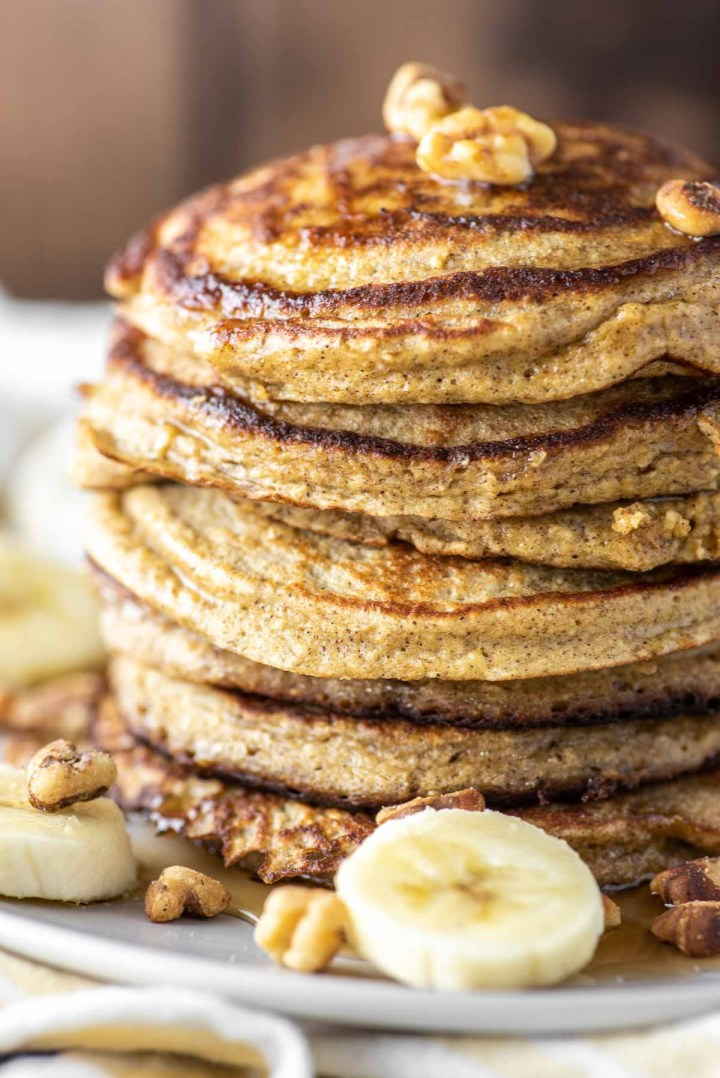close-up of banana pancakes with oats