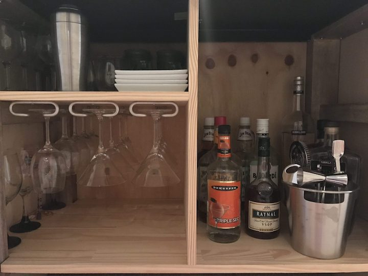 wood shelves with alcohol
