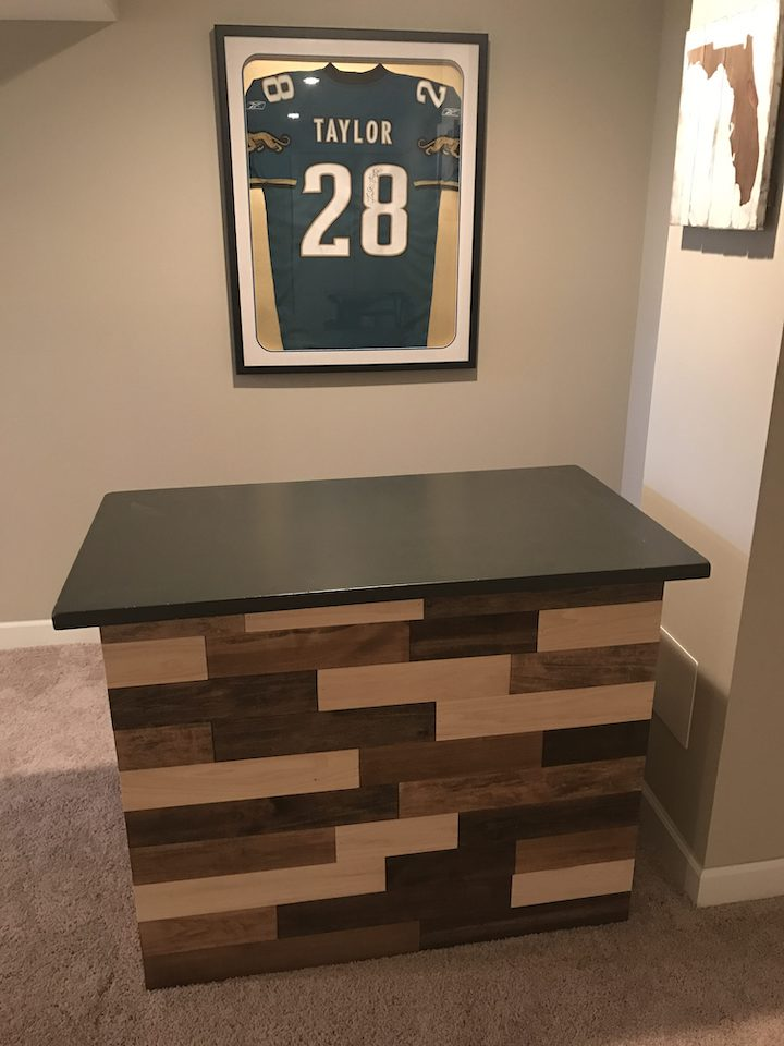 refurbished bar in basement