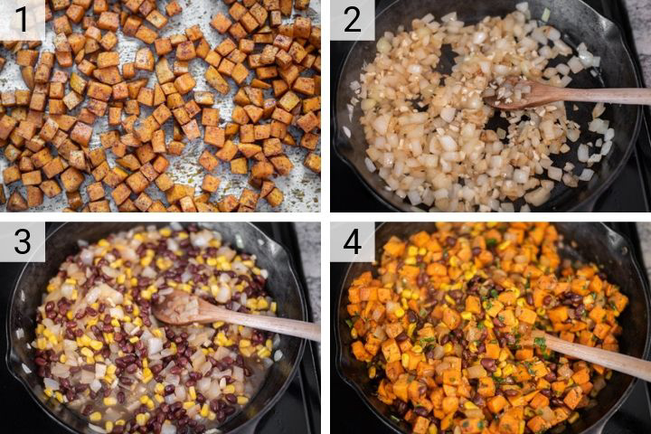 process shots of how to make sweet potato tacos
