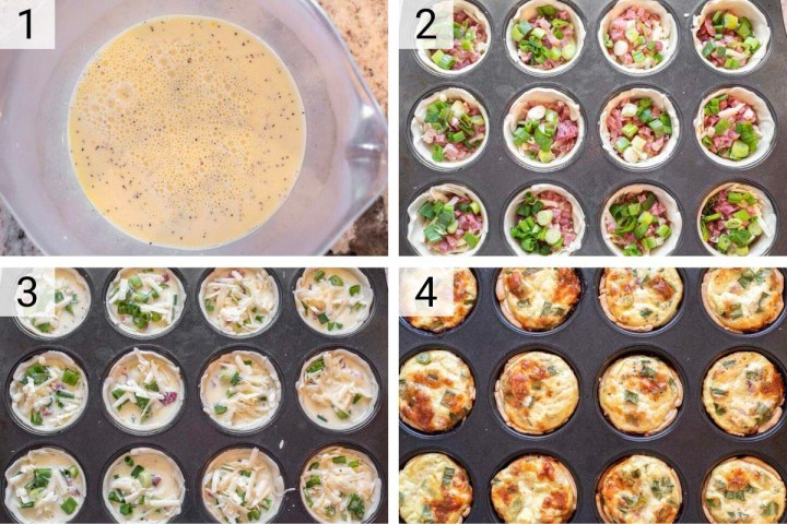 process shots of how to make mini ham and cheese quiche