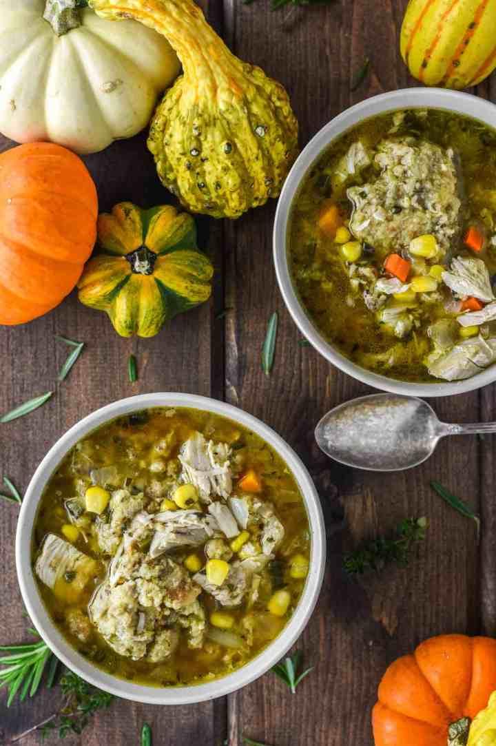 overlay of turkey stuffing dumplings soup in two orange bowls