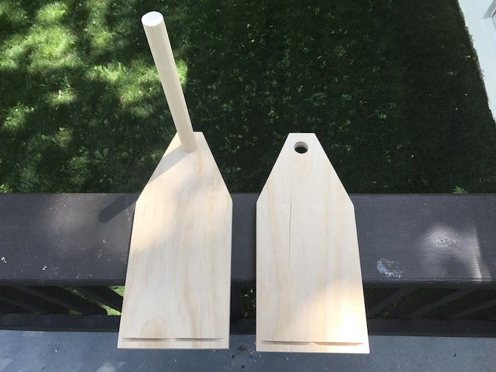 dowel insert into side of beer caddy