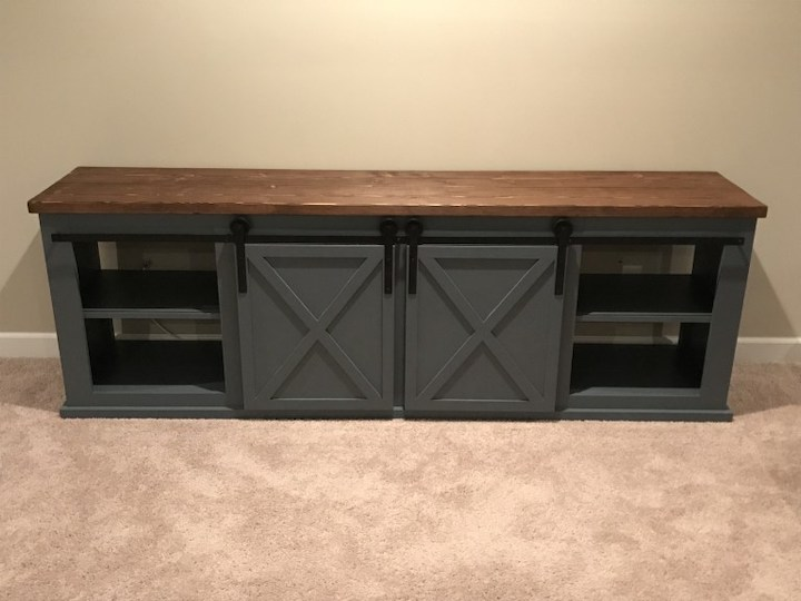 add sliding doors to entertainment center