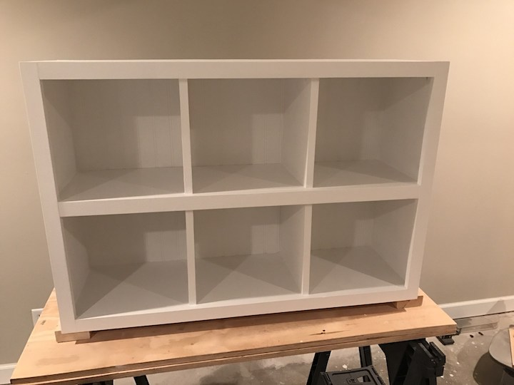 6 cube bookshelf painted white