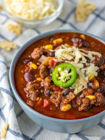 beef chili in blue bowl