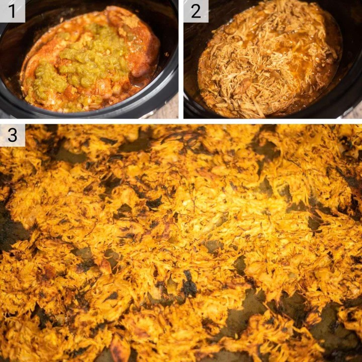 process shots of how to make slow cooker chicken tacos