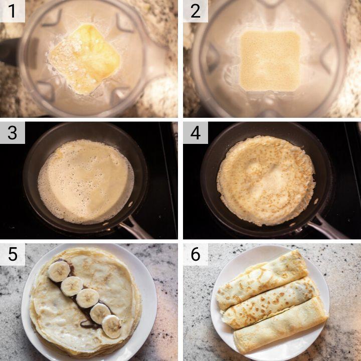 process shots of how to make banana Nutella crepes