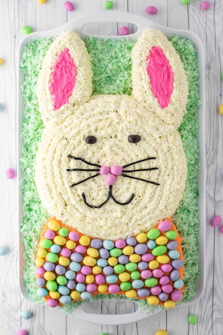overhead shot of Easter bunny carrot cake on platter