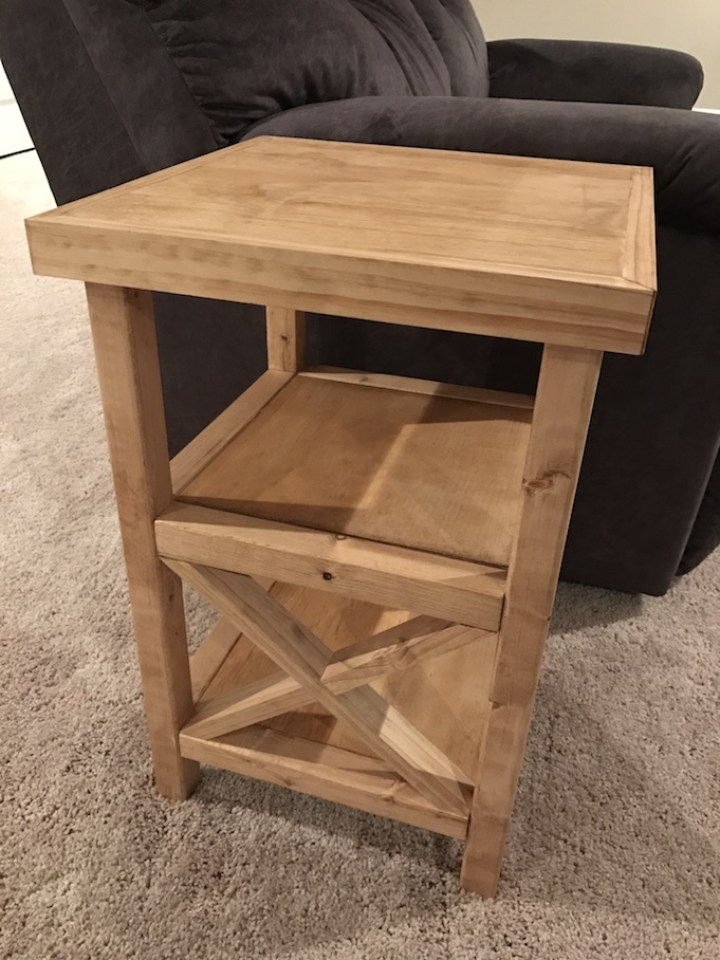 x end table next to couch