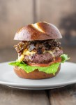 bison bacon jam burger on plate