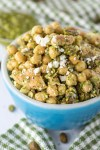 chickpea pesto salad in blue bowl