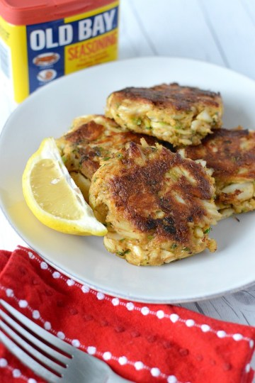 Close-up of Baltimore crab cake recipe with Old Bay seasoning