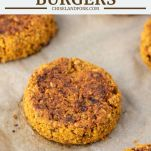 chickpea burgers on a parchment-lined baking sheet