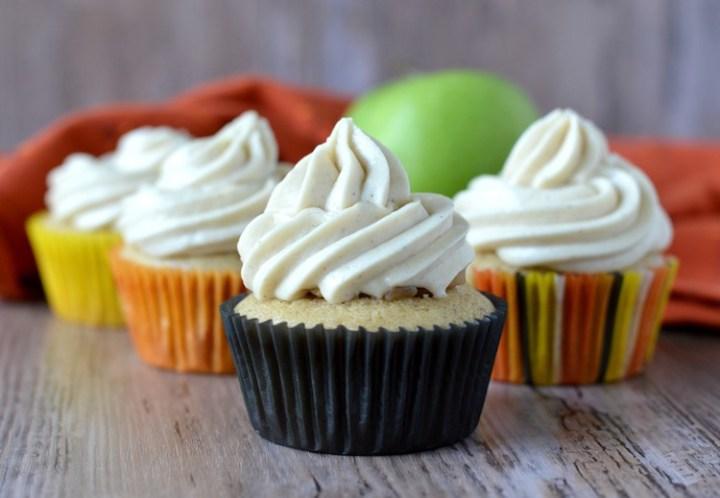 close-up of four cupcakes
